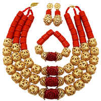 Fashion Orange Artificial Coral and Red Cameo Flower Costume African Beads Jewelry Set Nigerian Wedding Necklace FSH 008