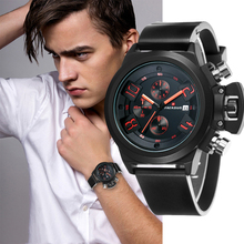 Men's Watch Quartz Sports Silicone Strap Waterproof Calendar Multi-function Chronograph Male Clock Business Relogio masculino carnival mechanical men watch phase moon leather strap double calendar stainless steel multi function clock relogio masculino