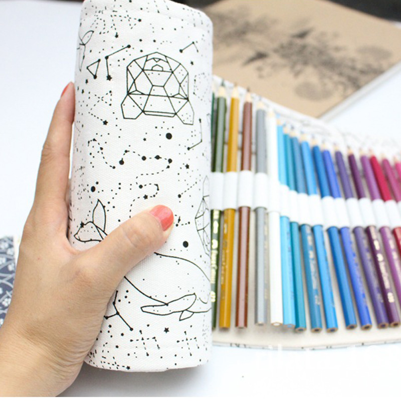 36/48/72 Holes Big Pencil Case School Canvas Roll Pouch pecncil box Constellation Pencilcase Sketch Brush pen Pencil Bag Tools kicute sketch floral flower canvas roll up pencil case 36 48 72 hole large capacity pen brush holder storage pouch school supply