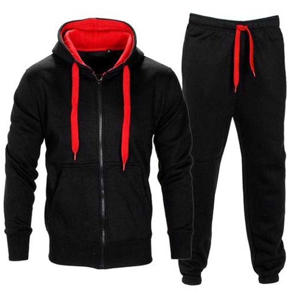 YJSFG HOUSE 2Pcs Men Sets Casual Tracksuit Sportswear Suits Jogging Hoodies Coat Jacket Pants Outwear Zipper Coats Drawstring