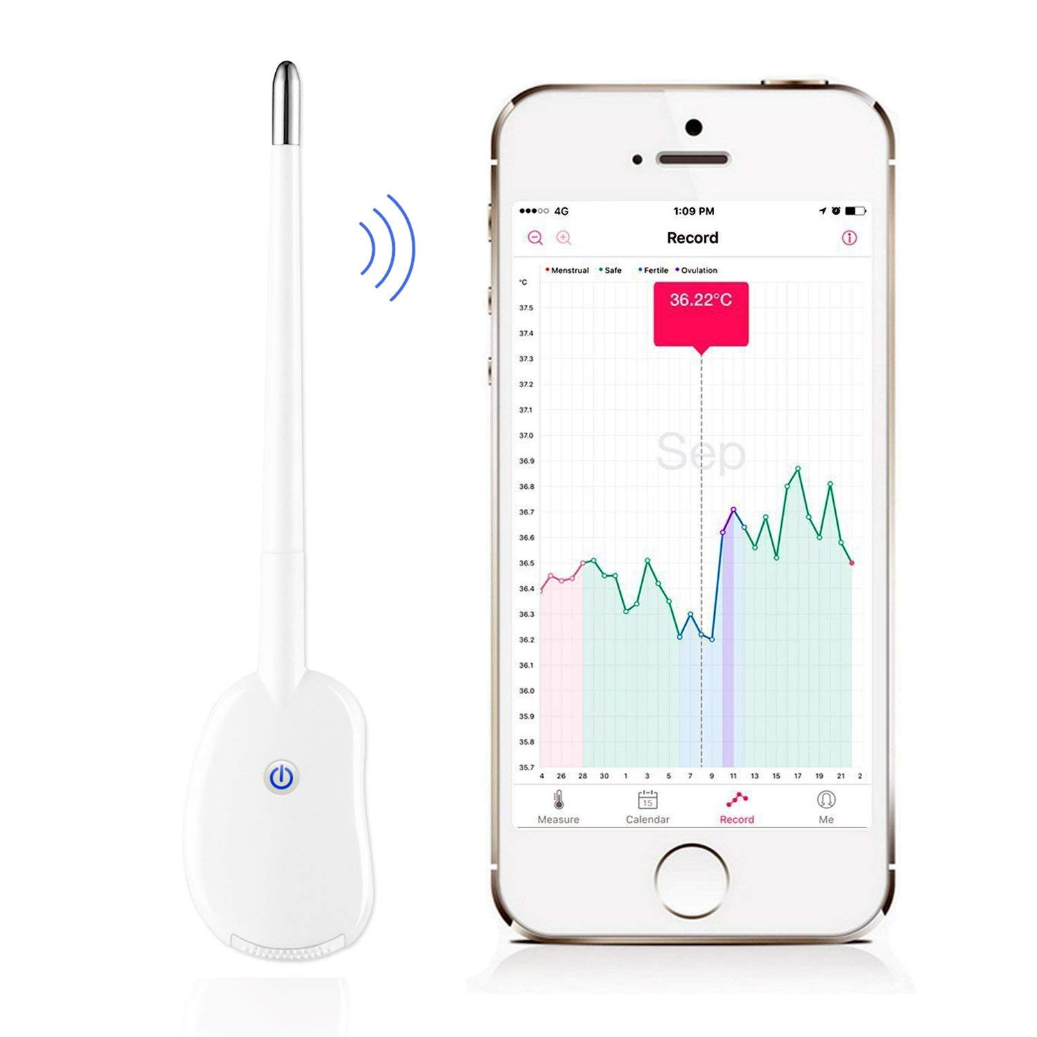 Smart Period Tracker Fertility Monitor Basal Oral Body Temperature Thermometer BBT Accurate Ovulation Prediction Bluetooth