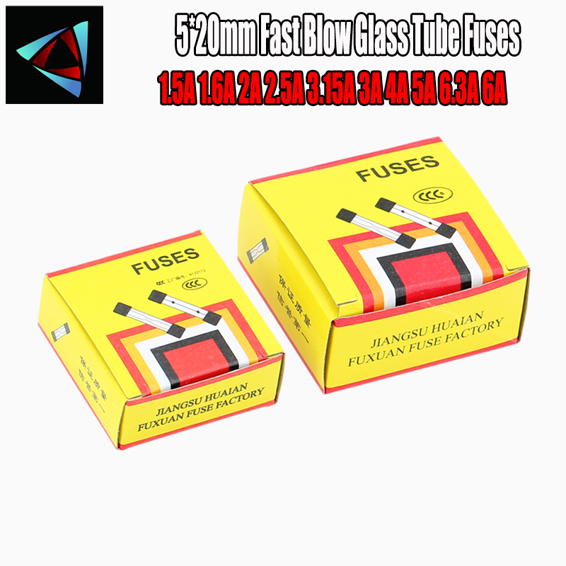 100pcs/lot One Sell 5*20mm Fast Blow Glass Tube Fuses 5x20 250V 1.5A 1.6A 2A 2.5A 3.15A 3A 4A 5A 6.3A 6A AMP Fuse