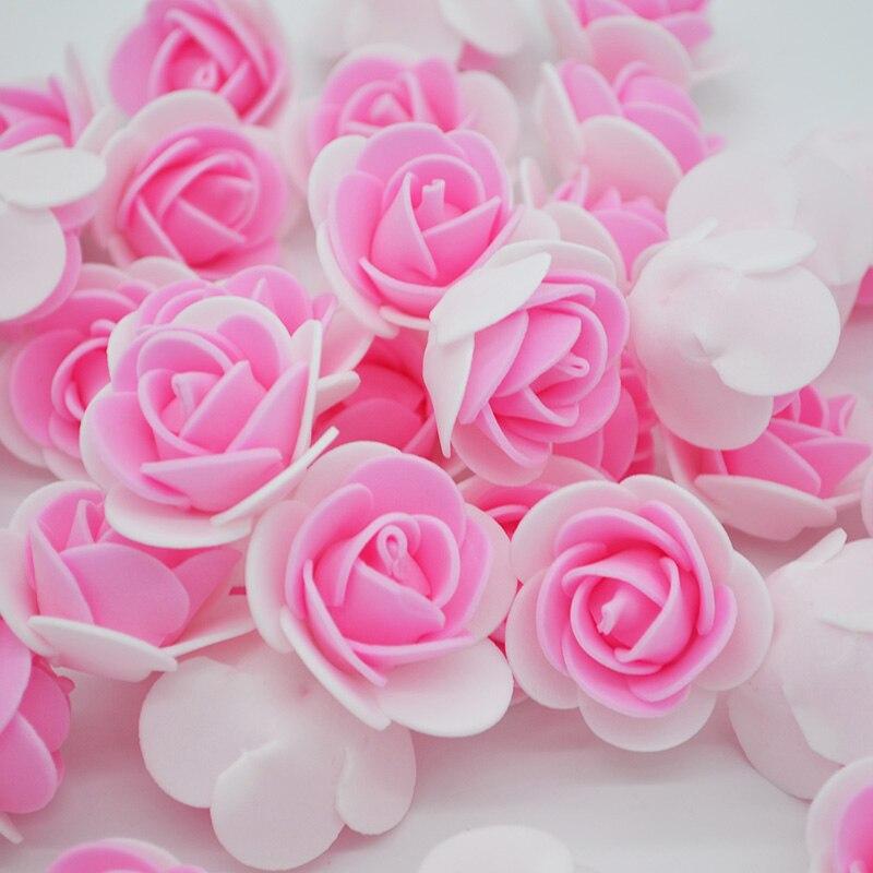 50pcs/lot Artificial Flowers PE Foam Roses Flower Head Wedding Home Decoration For Scrapbooking Gift Box DIY Garland