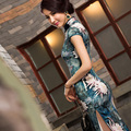 Nostalgic vintage green high quality heavy silk cheongsam summer design long silk cheongsam dress