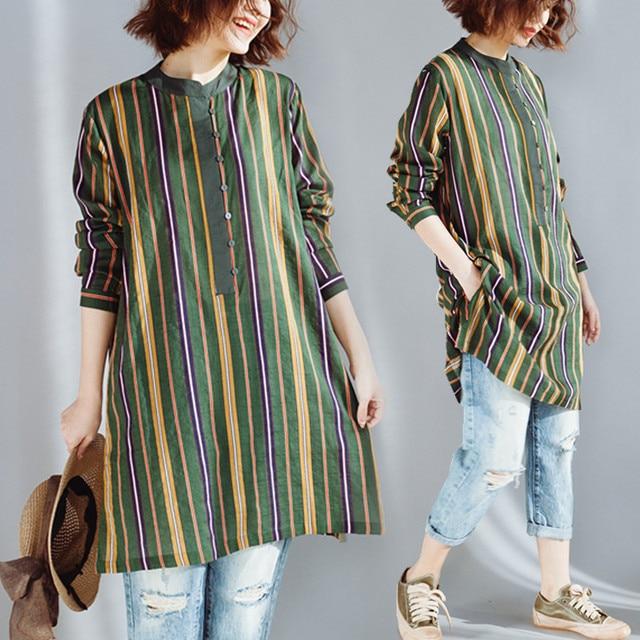 568a3e35e0b Plus Size 4XL 2018 Spring Autumn Women Fashion Striped Button Tops Female  Ladies Big Long Sleeve Loose Cotton Linen Blouse Shirt