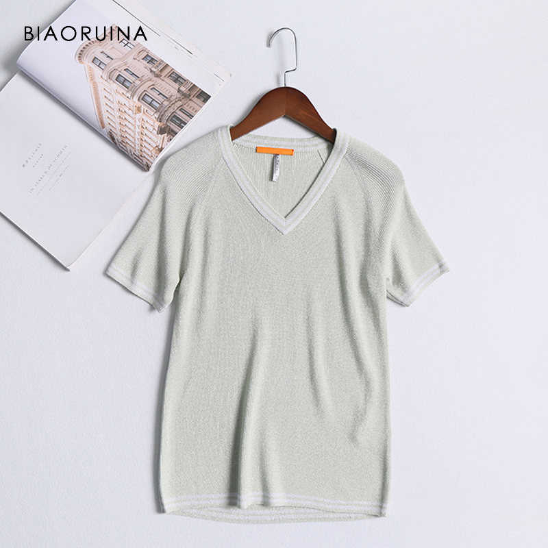 BIAORUINA Women Sweet Tencel Knitted T-shirt Striped V-neck Short Sleeve Female Casual Chic T-shirt Breathable All-match Tees