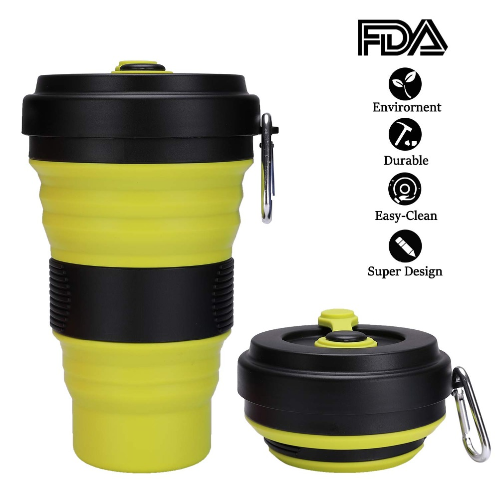 Drinking-Cup Foldable Water-Coffee Travel Bpa-Free Collapsible Outdoor Silicone 550ml title=