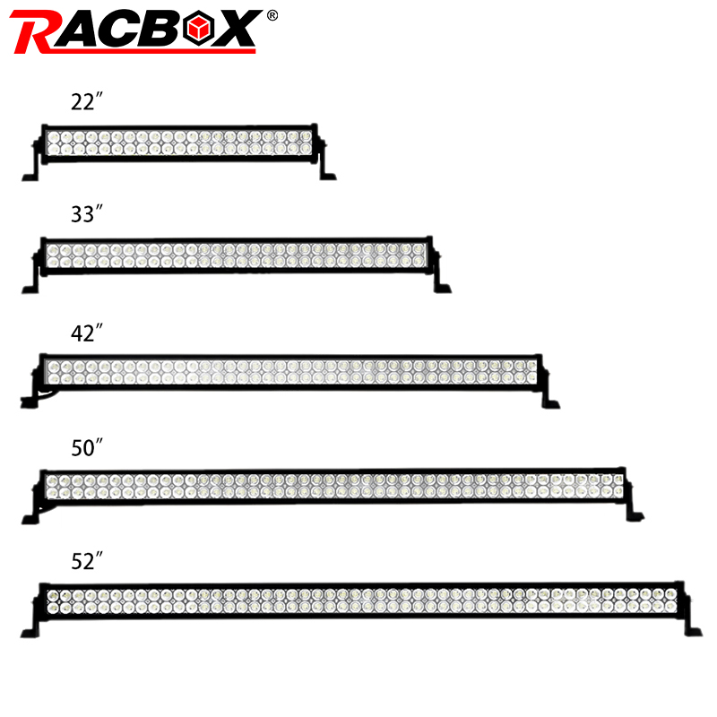 RACBOX Dual Row Straight LED Work Light Bar 22 32 42 50 52 Inch 120W 180W 240W 300W for Car Truck 4x4 SUV ATV Boat Auto LED Lamp