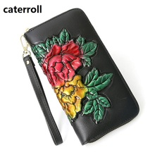 Купить с кэшбэком genuine leather women wallets and purses floral female purse long real leather clutch wallet luxury brand money bag