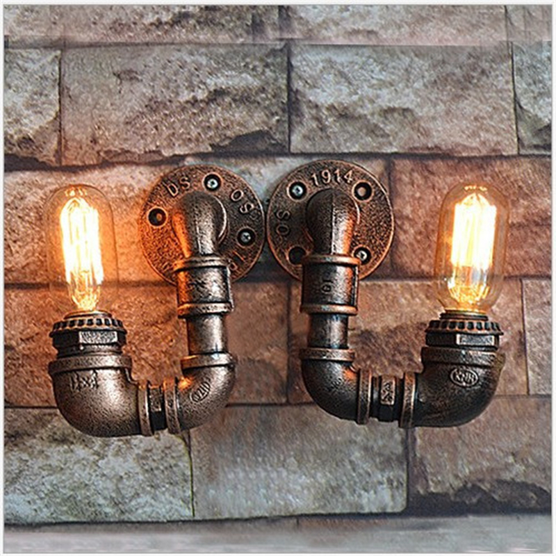 Loft vintage wall lamp sconce restaurant cafe corridor pub bar lamp Iron imitated water pipe lighting retro lamp LED wall light цена