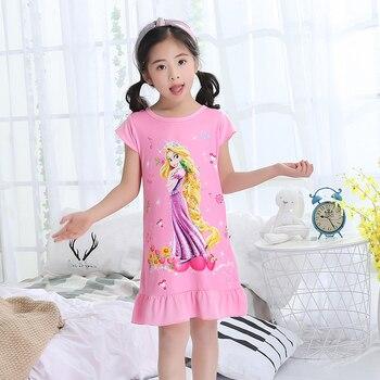 7d14fcc59f Verano camisones de princesa niñas camisones de algodón de manga corta  pijama niños ropa de dormir niños lindo sleepshirts 2019 nuevo