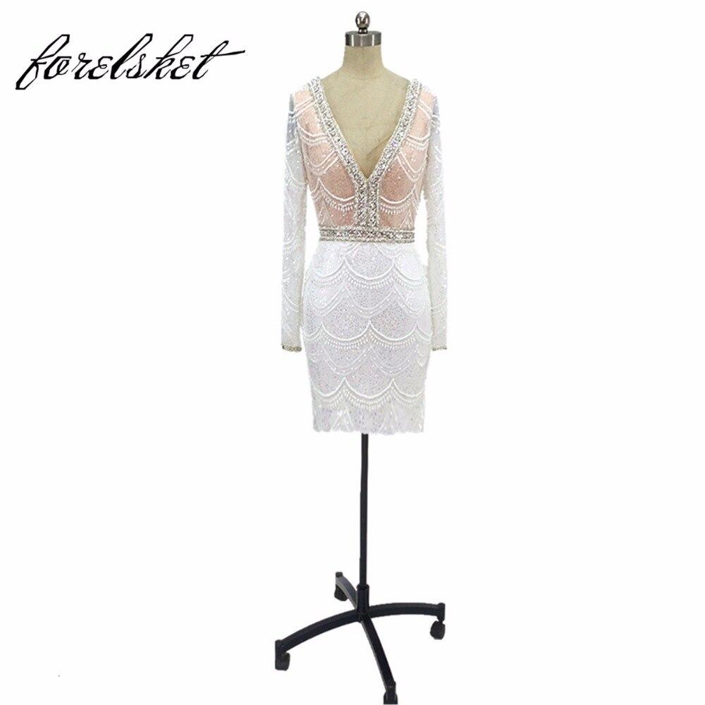 2017 маленькая Платье черного цвета Короткие Вечерние платья высокого качества с роскошью Бисер Кристалл открытой спиной Длинные рукава Фор…