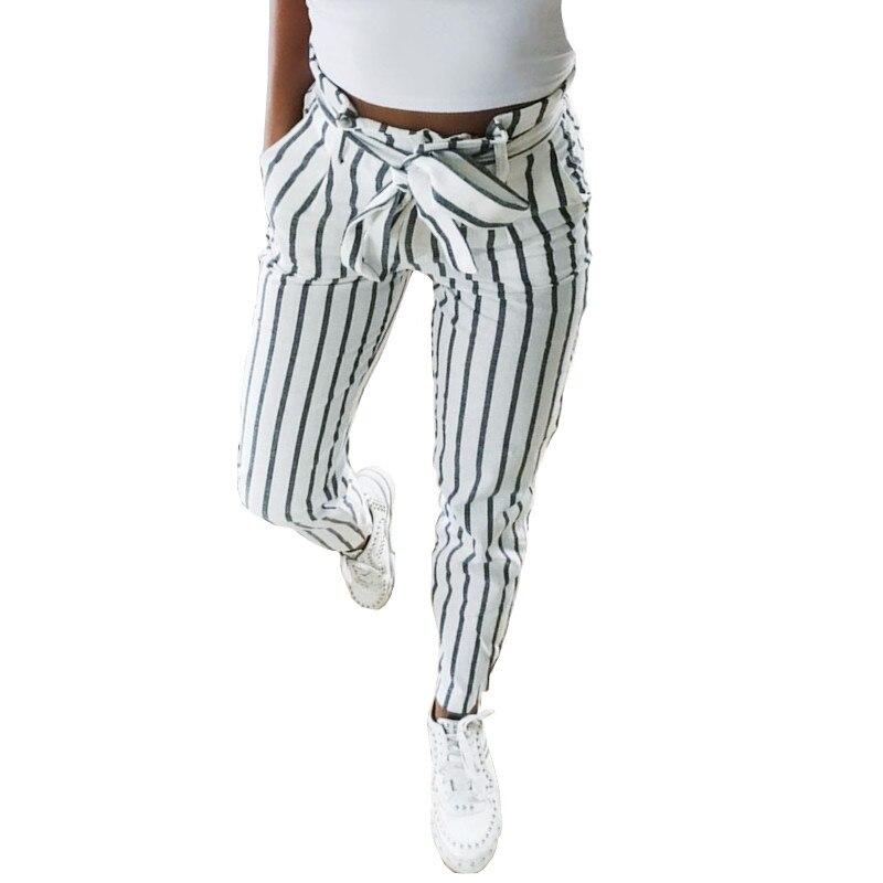 Streetwear Women Striped Skinny Pants Femme Bowknot Lace-Up High Waist Pant Capris Lady Sweatpants Trousers Women calca feminina