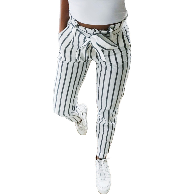 Streetwear Women Striped Skinny   Pants   Femme Bowknot Lace-Up High Waist   Pant     Capris   Lady Sweatpants Trousers Women calca feminina