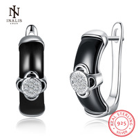 INALIS 925 Sterling Silver Ceramics Earrings White Color Black Color Flower Shape For Women Female Girl