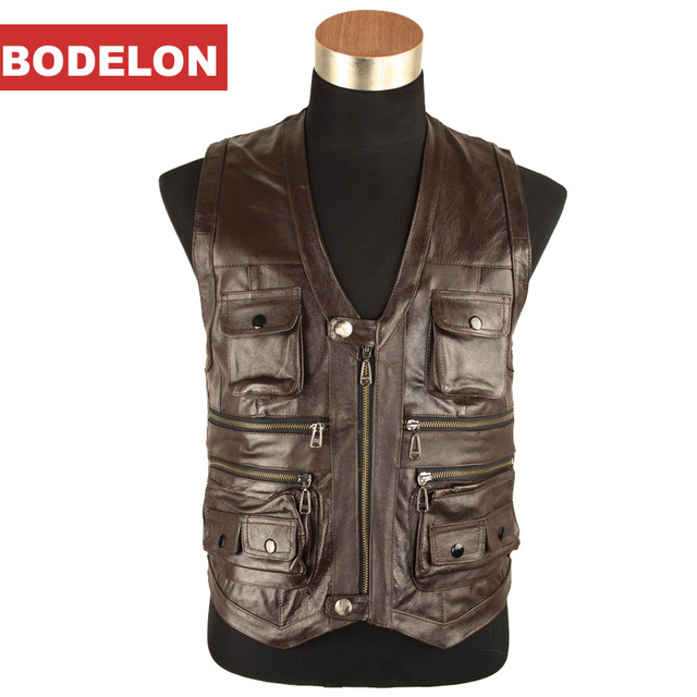 More than 2016 autumn/winter   pockets Men's head layer cowhide leather vest