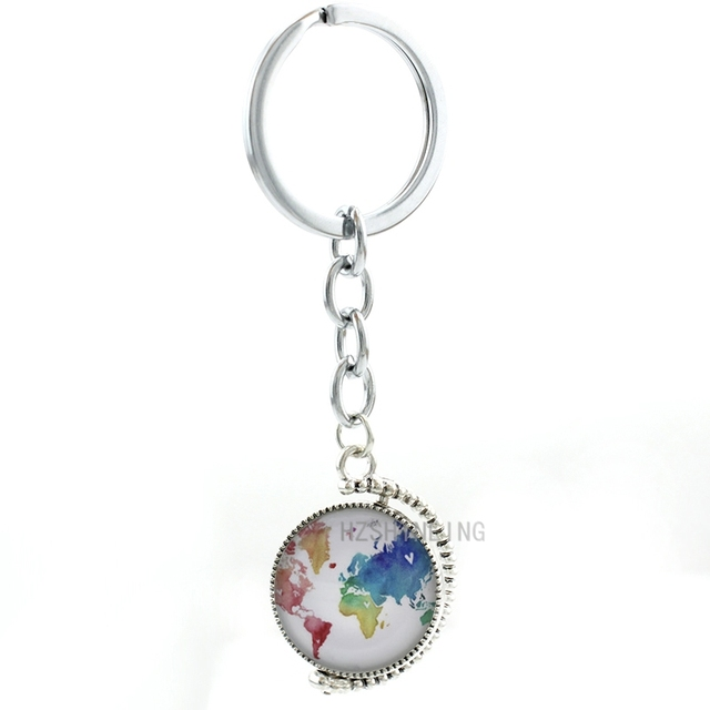 Double sides world map key chain ring holder fashion rainbow double sides world map key chain ring holder fashion rainbow multicoloured map keychain women men jewelry gumiabroncs Image collections