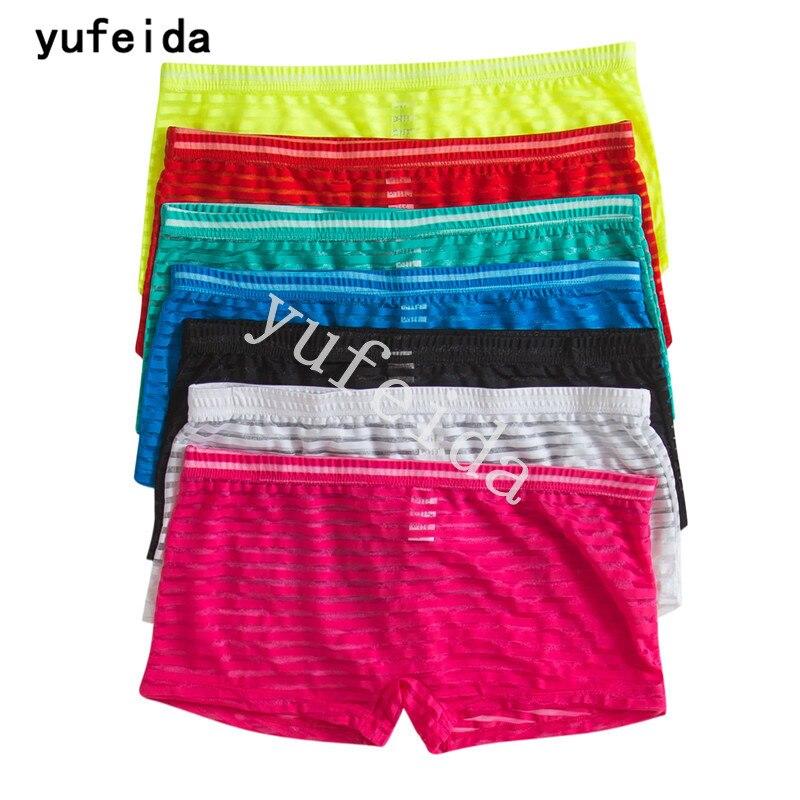 YUFEIDA 7 шт/лот шорты боксер сексуальное нижнее белье сетчатые дышащие прозрачные розовые черные Sunmmer Sissy боксеры нижнее белье