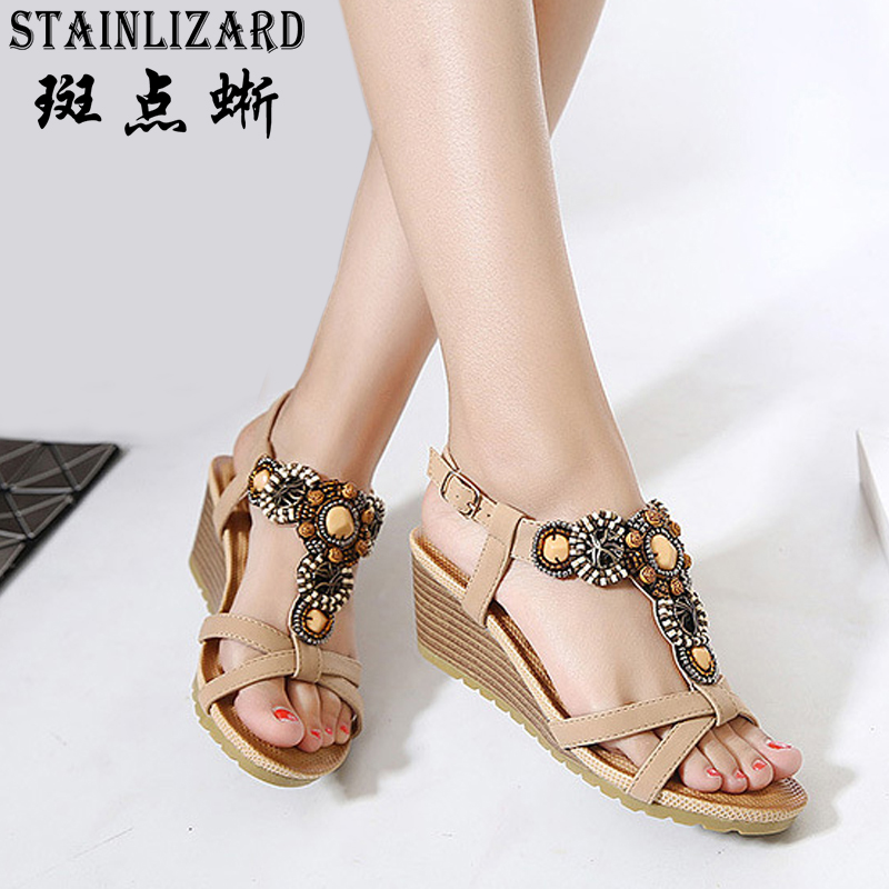 High Heels Sandals Women Shoes Summer New Ethnic Bohemian Beaded comfortable buckle Women Casual Sandals Shoes Female 2017 BT536 poadisfoo 2017 new ethnic women s shoes bohemian diamond slope with a large summer sandals zapatos mujer jxf 6662b