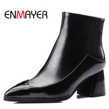 ENMAYER White Shoes Zippers High Heels Large Size 34-43 Winter Boots  Pointed Toe Shoes Woman Sexy Red Ankle Boots for Women anmairon fashionhigh heels round toe platform shoes woman black shoes sexy red zippers ankle boots for women large size 34 43