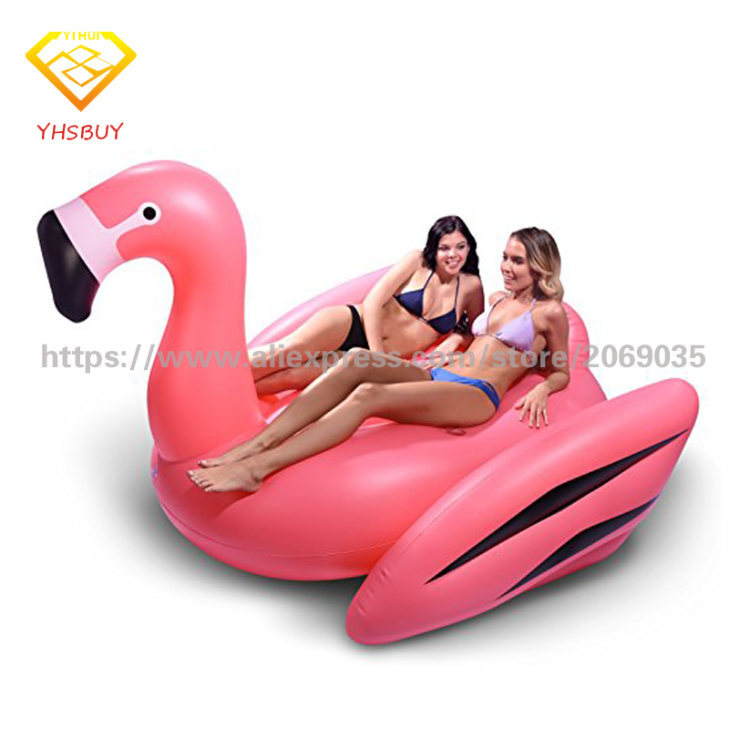 190cm 75inch Giant Luxury Pink Inflatable Flamingo Pool Float Ride-On Air Lounger For Kids Adults Summer Party Supply Water Toys