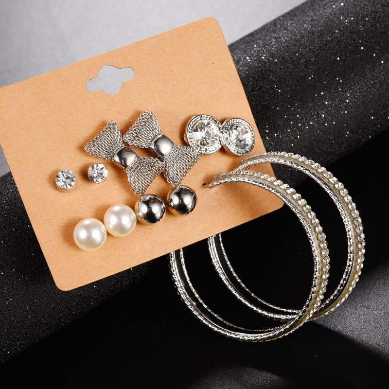6 Crystal Pearl Photo Picture Frame Diamond Bowknot: New Trendy 6 Pairs/set Hoop Earrings Set For Women Crystal
