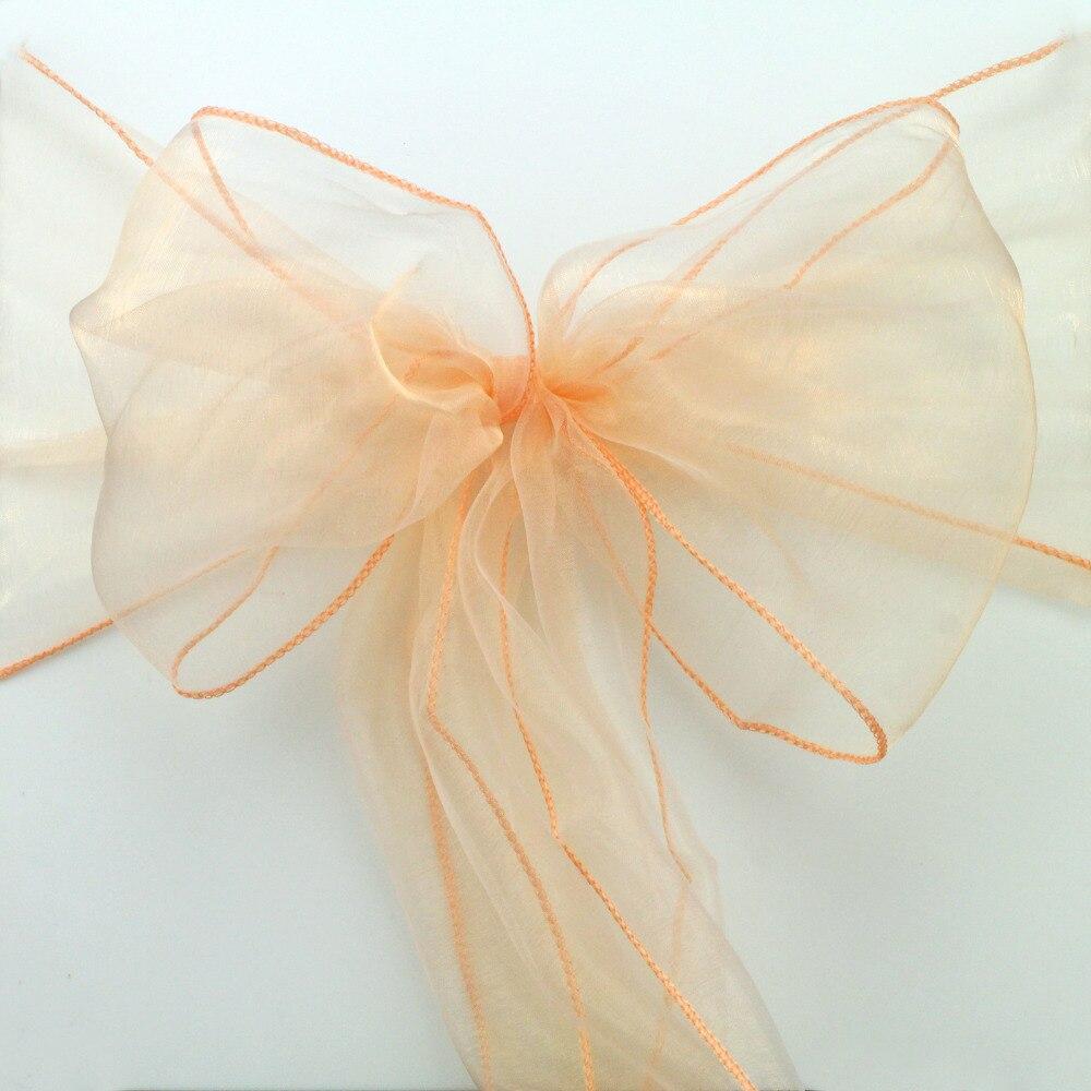 Новый Луки новый цвет горячий 25 шт. персик Свадебная вечеринка Банкетный стул из органзы украшения расходных материалов-бесплатная доставк... ...