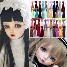 Perruques de poupée pour fille, 18 pouces, 15cm x 100cm, cheveux lisses, 45 couleurs, rouge, bleu, noir, jaune, BJD, bricolage, JF002, 1/3, 1/4, 1/6