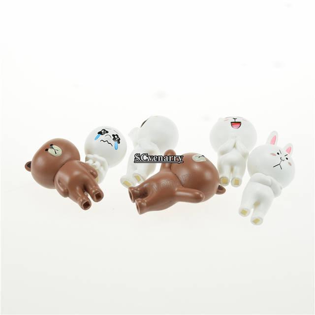 6pcs/set Line App Emoji Brown Bear Cony Rabbit Figures Toys