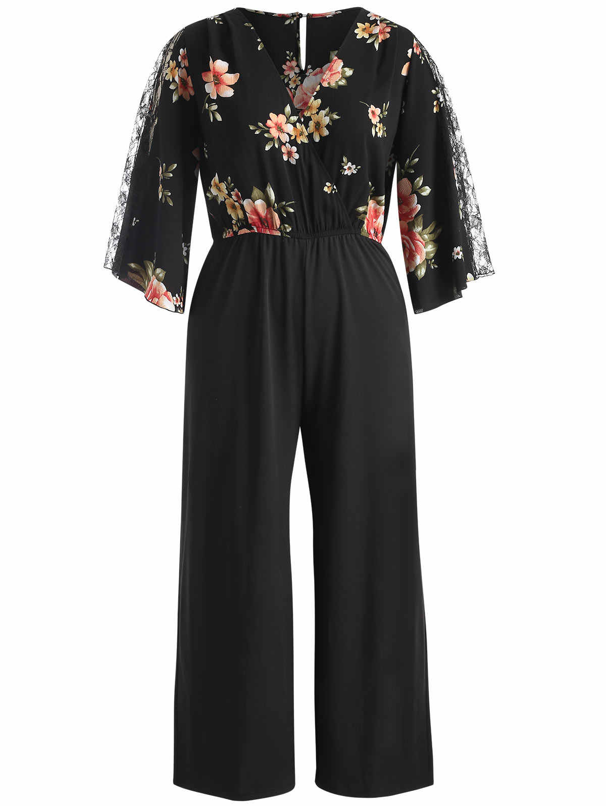 72ce0e1fe7 Wipalo Autumn Floral Print Jumpsuit Women Casual Black Wide Leg Rompers  Plus Size Lace Patchwork Bell Sleeve Jumpsuits Overalls