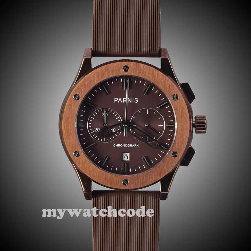 Parnis кофе циферблат каучуковый ремешок раскладывающаяся застежка кварцевый хронограф мужские часы 218