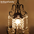American Village E27 Crystal chandelier small chandelier single-head bedroom aisle creative bar lamps European Jane Art Deco