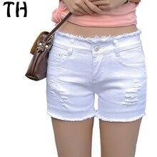 2016 Белый Середины Талии Летом Рваные Джинсы Для Женщин Slim Fit Эластичный Повседневная Джинсы Шорты Pantalones Cortos Mujer #161167