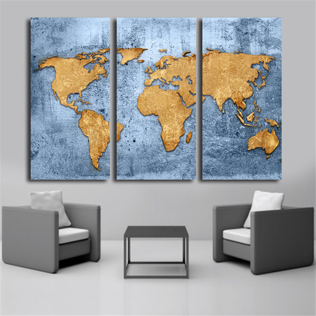 Vintage world map 3 piece canvas oil painting drawing prints on vintage world map 3 piece canvas oil painting drawing prints on canvas module for living room gumiabroncs Choice Image
