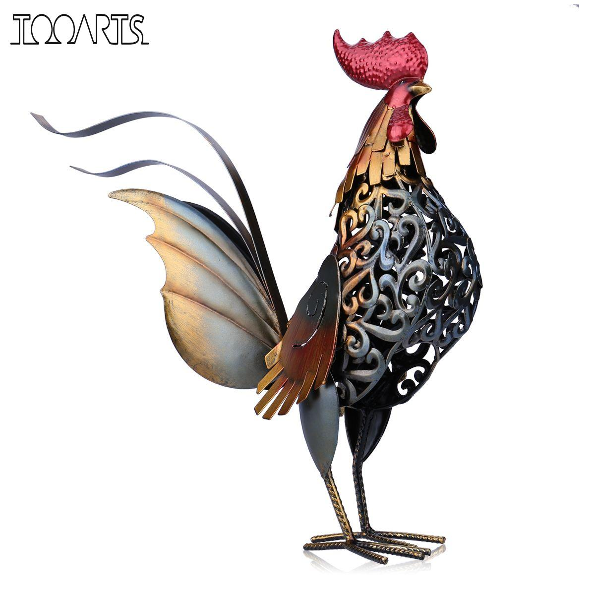 Tooarts Metal Figurine Iron Rooster Home Decor Articles
