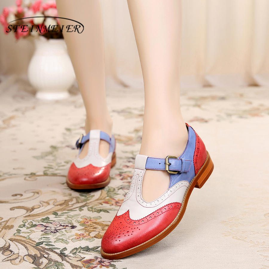 Genuine sheepskin Leather yinzo brogues Sandals flats shoes handmade vintage oxford shoes for women spring summer