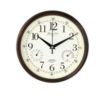 Meijswxj Saat Wall Clock Modern simplicity Mute round Temperature and humidity wall clocks Relogio de parede living room clock