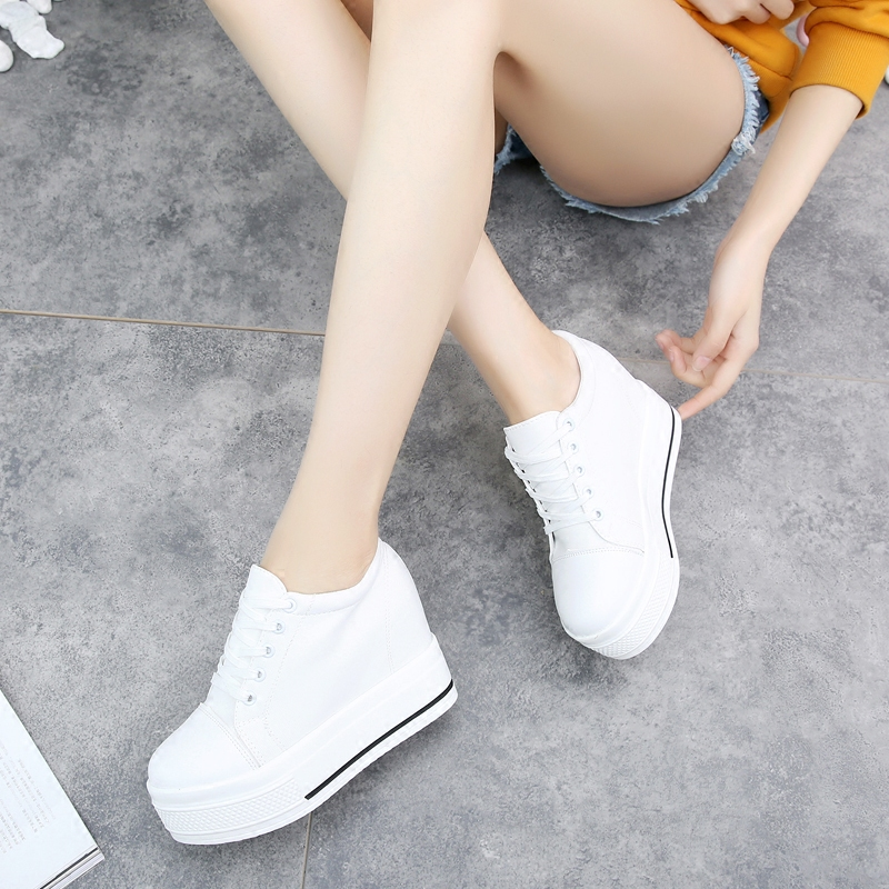 E TOY WORD Platform Women Shoes black white Canvas womens sneakers Fashion women Hidden Heels sneakers 10CM female casual shoes in Women 39 s Vulcanize Shoes from Shoes