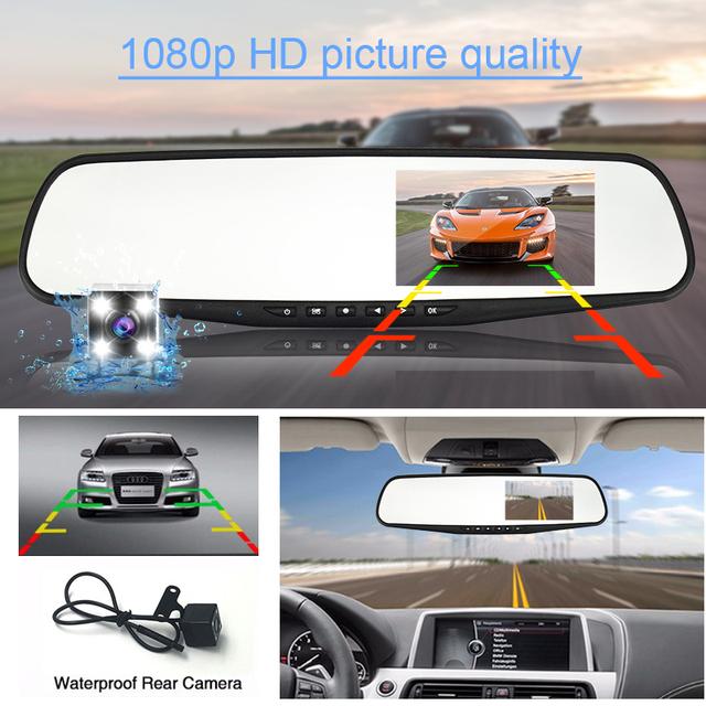 Kamera samochodowa DVR podwójny len lusterko wsteczne Auto dashcam rejestrator rejestrator w samochodzie wideo Full HD Dash cam pojazd dwa kamery