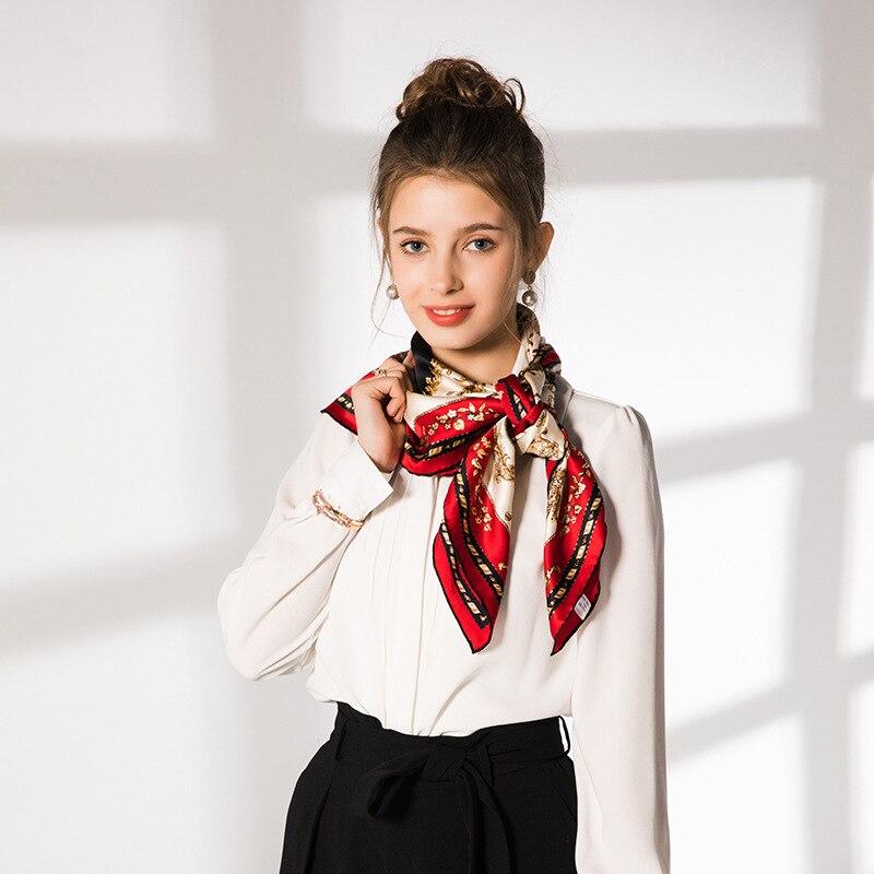 cf741d3ab0 100% Real Silk Scarf Women Hand Rolled Red Twill Shawl Fringed Mirror Print  Scarves Fashion