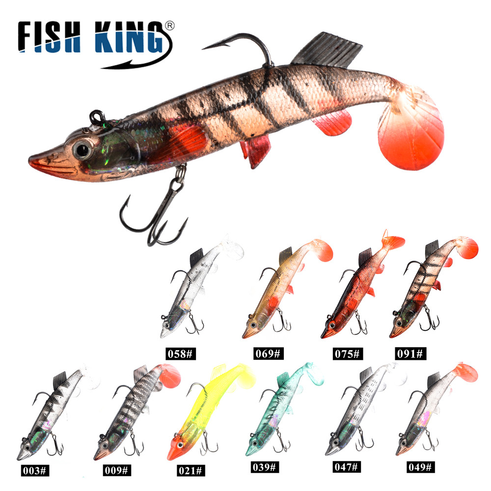 FISH KING 1PC Soft Bait 3D Eyes Lead Fishing LuresTail Pike Soft Lure Treble Hook Baits Artificial Bait Jig esfishing soft bait