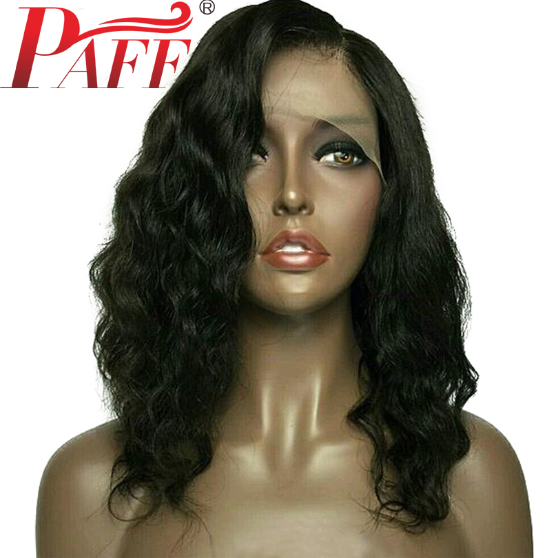 PAFF Short Loose Deep Lace Front Human Hair Wig Peruvain Virgin Hair Bob Cut Wig With Pre Plucked Hairline Baby Hair Middle Part