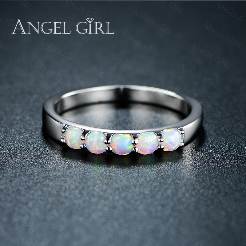 Angel Girl Simple Ring Round White Pink Blue/White Fire Opal Rings ...