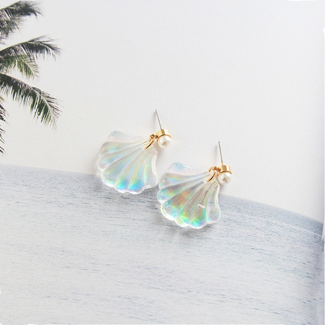 SHUANGR Fashion summer style shell shape Korean Vintage Charming earrings women stud earing jewelry Brincos boucle d'oreille