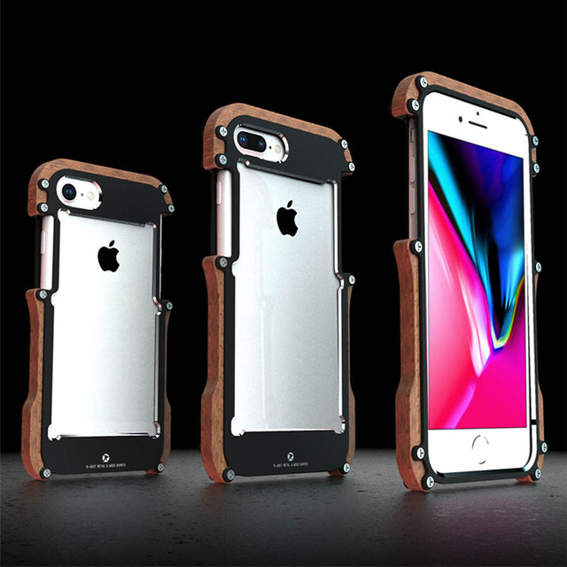R just etui na iPhone 7 8 Plus, odporna na wstrząsy obudowa z drewna metalowa rama zderzak pokrywa dla iPhone 8 6 6S Plus 5 5S SE obudowa aluminiowa