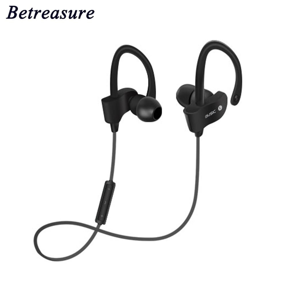 Betreasure Bluetooth Earphone  In-Ear Wireless Sport Headset Stereo Earplugs with Microphone for IPhone Samsung Xiaomi Huawei original ldnio wireless bluetooth sport headset with 2 4a car charger 2 in 1 earphone for samsung xiaomi iphone mp3 mp4 player