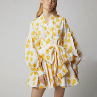 2019 Spring and Summer Fashion Lantern Sleeves Lantern Sleeve Yellow Maple Leaf Printed Dress Woman