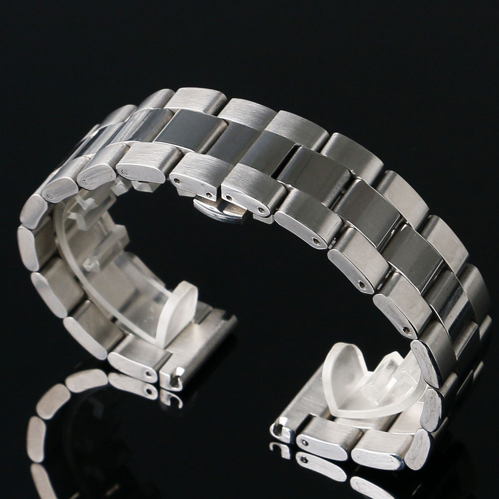 22mm Stainless Steel Band Strap Silver Bracelet Solid Links Deployment Buckle With Push Button Women Men Wrist Watch GD013822 стоимость