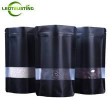 Leotrusting 100Pcs Stand Up Mat Zwart Aluminiumfolie Venster Zip Lock Tas Koffie Poeder Noten Opbergtas Frosted Venster gift Bag