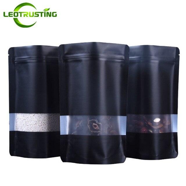 Leotrusting 100Pcs Stand Up Mattสีดำอลูมิเนียมหน้าต่างฟอยล์ถุงซิปล็อคผงกาแฟถั่วกระเป๋าFrosted Windowกระเป๋าของขวัญ
